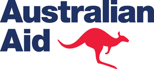 Logo for Australian Aid which includes a kangaroo