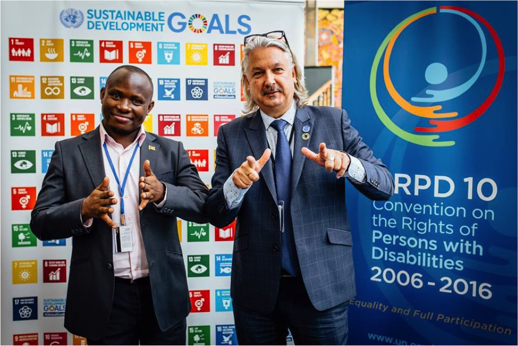 Ambrose Murangira and Colin Allen, Chair of the International Disability Alliance and President of the World Federation of the Deaf at the United Nations