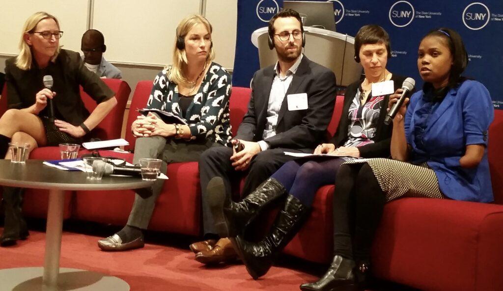 Panelists talk about gender equality, from L to R: Marielle Sander-Lindstrom, Emily Nielson Jones, Ali Javid, Eva Kolodner, Esther Louis