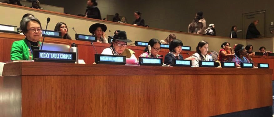 Panel at the UN CSW with Vicki Tauli-Corpuz, Tarcila Rivera, Otila Lux de Coti (and others) with Pratima Gurung