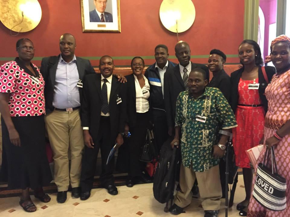 Uganda delegates from left to right: Rose Achayo, Derrick Kizza, Aggrey Olweny, Florence Mukasa, Martin Ssenoga, Job Wanakwakwa, xxxx, Priscilla Nyarugoye (UHRC), Robinah Alambuya, and in front, Apollo Mukasa