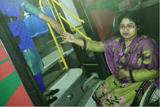 Inaccessible bus for wheelchair user
