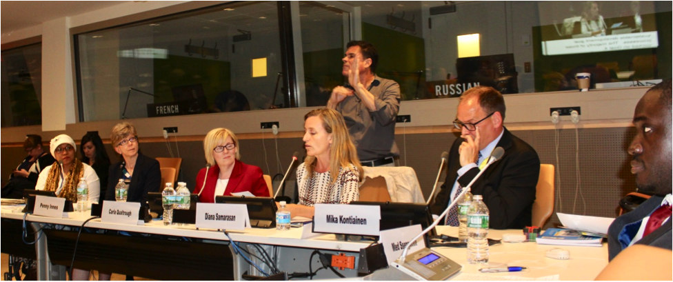 Risna Utami, Penny Innes, The Honourable Carla Qualtrough, Diana Samarasan, Mika Kontiainen, Med Ssengooba on panel with sign language interpreter
