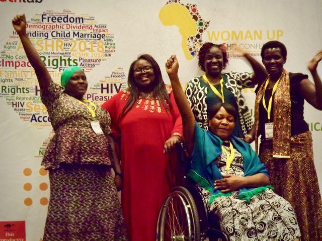 Photo from left to right: Faridah Nabbanja (NUWODU, Uganda); Ruth Nkutumula (DIWA, Malawi); Jennifer Isiko (Triumph Uganda); Robinah Alambuya (Triumph Uganda); in Front: Sigere Kasasi (DIWODE, Malawi)