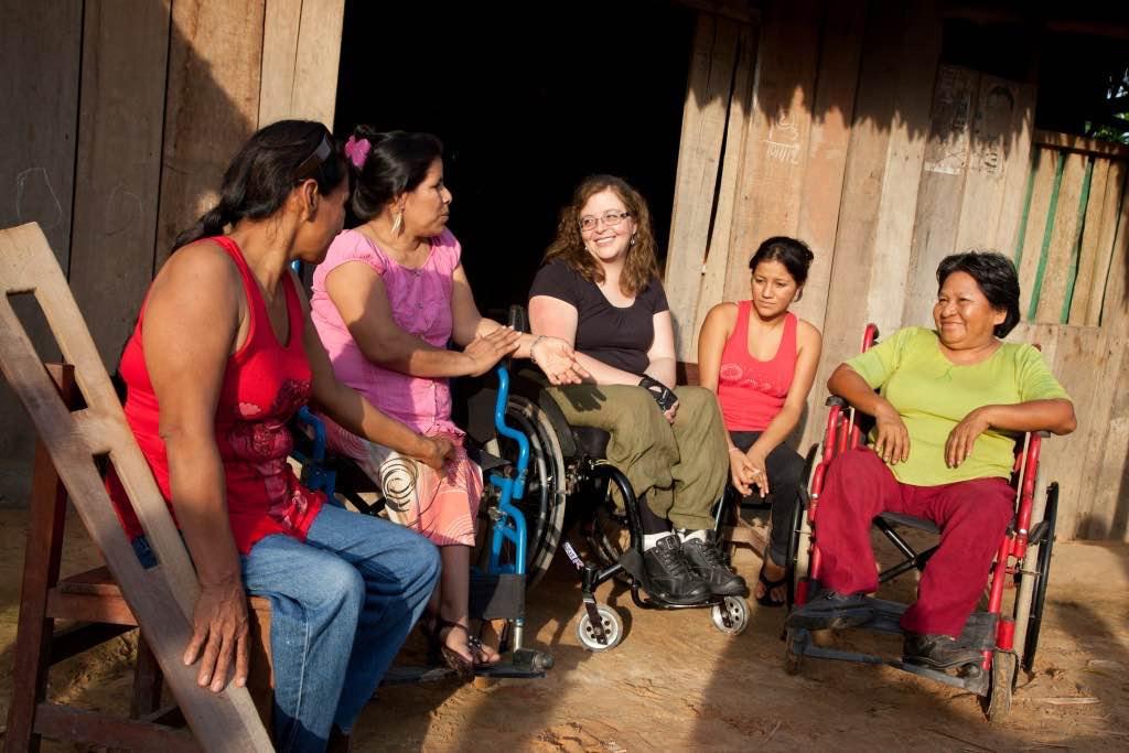 Women with disabilities share experiences with DRF Staff Yolanda Munoz, the Amazon, Peru