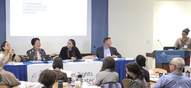 Panel at the Human Rights Funders Network meeting. From left to right: Claret Vargas, Dejusticia; Yumi Sera, Disability Rights Fund; Ana Maria Enriquez; Tim Sweeney, Pride Foundation; Caitlin Stanton, Urgent Action Fund.